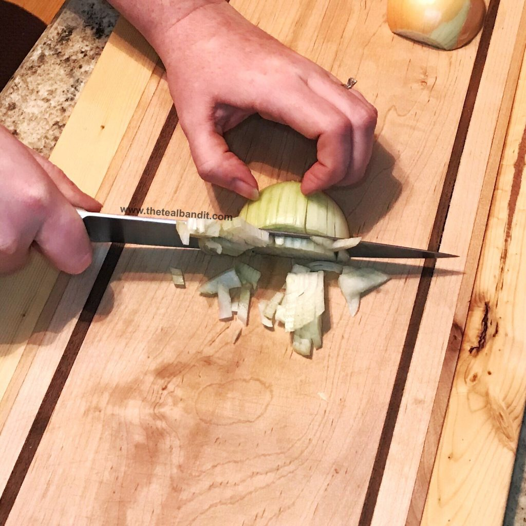 dicing an onion is so easy with the proper cuts.  Even a beginner can do it.