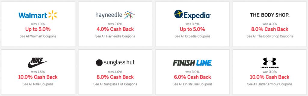 Cashback app Rakuten offer examples
