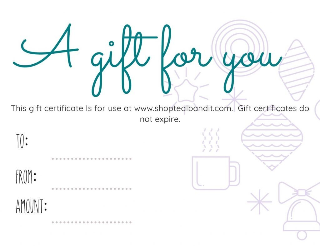 A gift card from The Teal Bandit is the perfect last-minute Christmas gift idea.